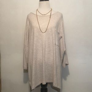 Chelsea and Theodore Sweater in Oatmeal Hi-Low Hem